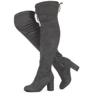 Shoes - Over The Knee Faux Suede Block Heel Boots